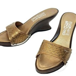 Auth Ferragamo Gold Snake Sculpted Wood Heel Mules